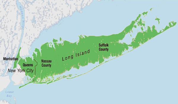 Nassau and Suffolk Counties on Long Island,